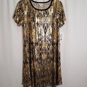 LuLaRoe Elegant Carly Medium Dress Foil Gold Black